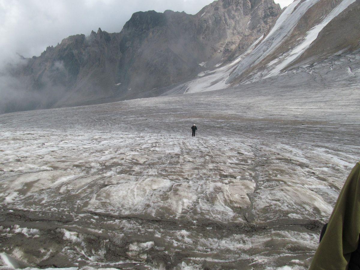 Кавказ 2017. Ущ. Каярты-су. Лед. Каярта Западная. Подход к перевалу.