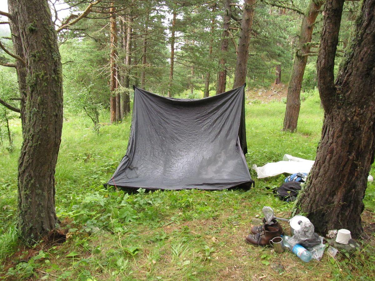 Кавказ 2018. Ущ. Тютю-су. Сушу дно палатки...