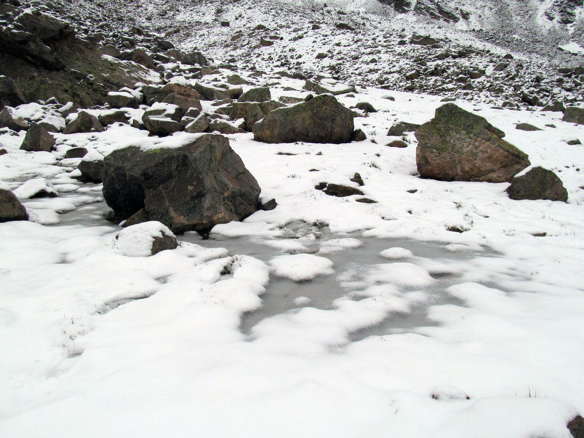 Кавказ 2019. Ущ. Ирик-чат. Ручей под снегом.